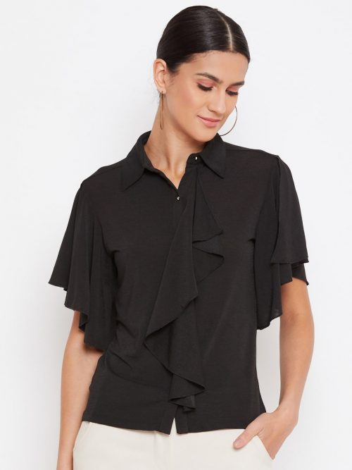 Black Color Crop Shirt With Draped Ruffle Top