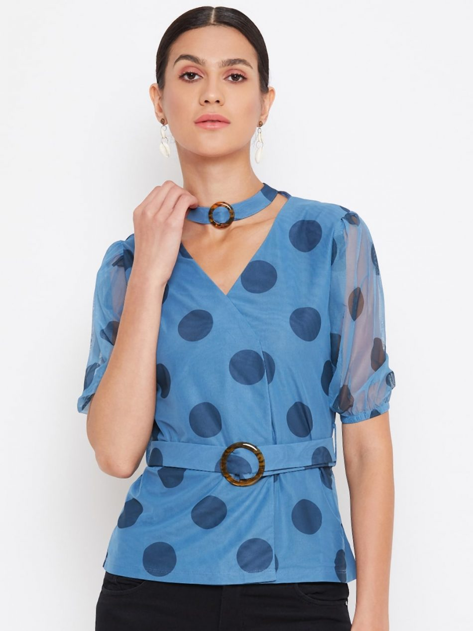Blue Color Choker Neck Polka Top With Rings