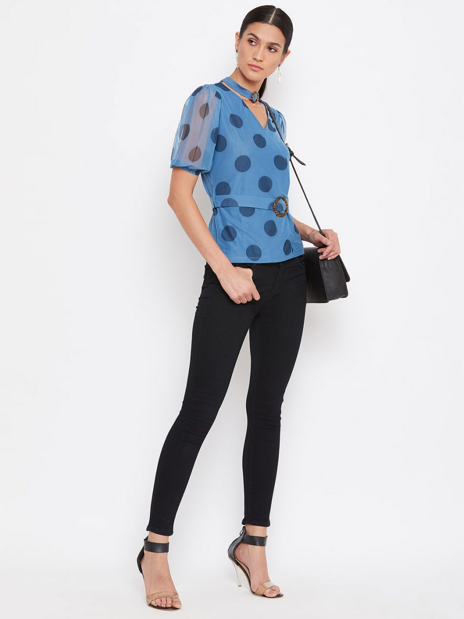 Buy Blue Color Choker Neck Polka Top With Rings