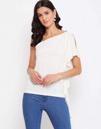 Off Shoulder Asymmetrical Frill White Top