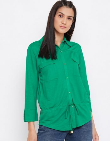 Buy Knitted Rayon Front Pocket Green Top