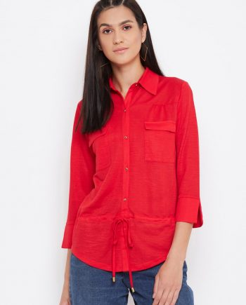 Buy Knitted Rayon Front Pocket Red Top-min