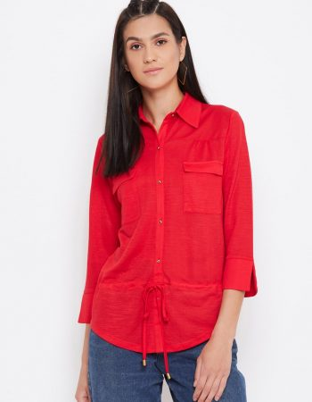 Buy Knitted Rayon Front Pocket Red Top