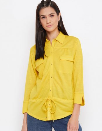 Buy Knitted Rayon Front Pocket Yellow Top
