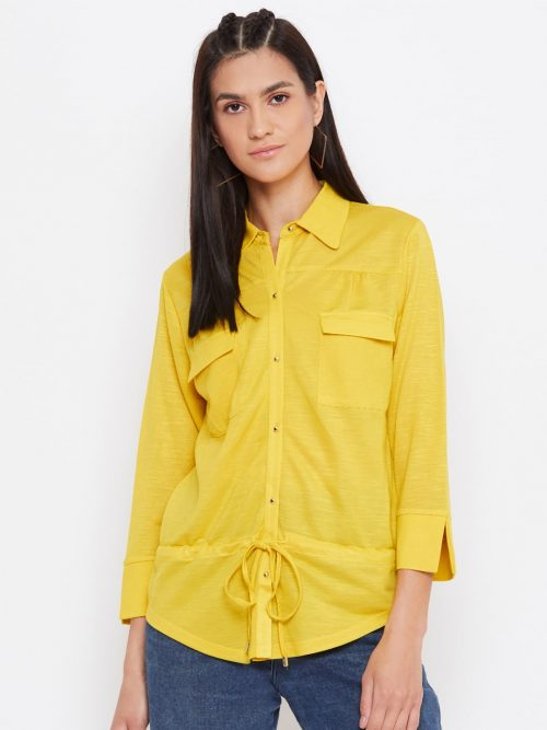Buy Knitted Rayon Front Pocket Yellow Top-min