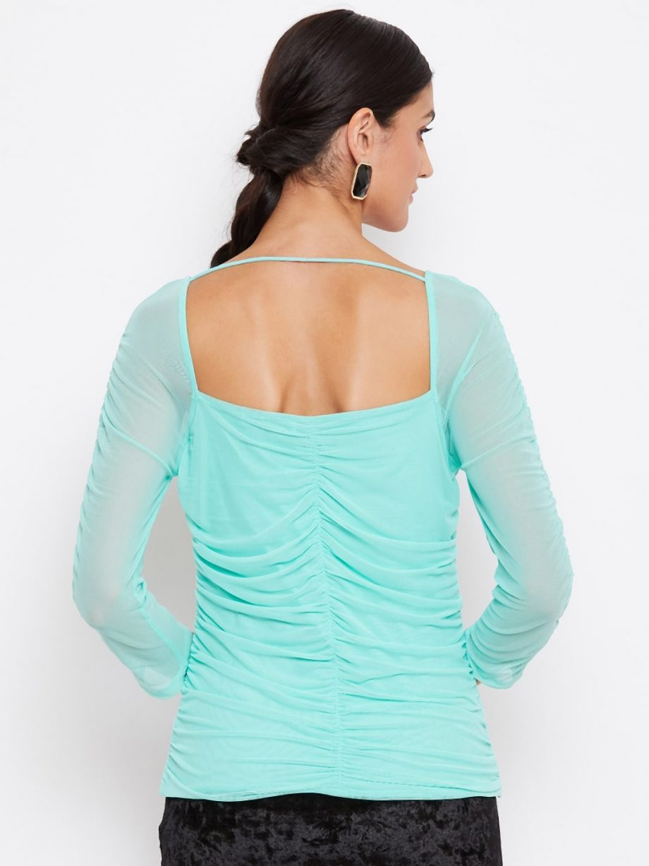 Buy Mint Color Milkmaid Ruched Effect Top