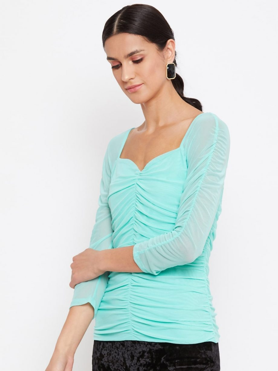 Buy Mint Color Milkmaid Ruched Effect Top At Best Price