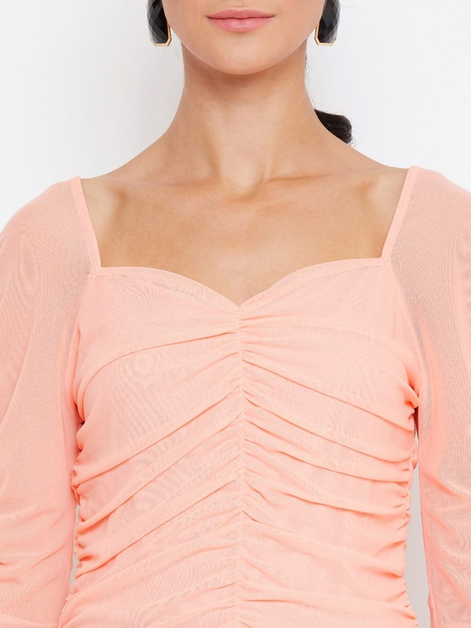 Buy Peach Color Milkmaid Ruched Effect Top