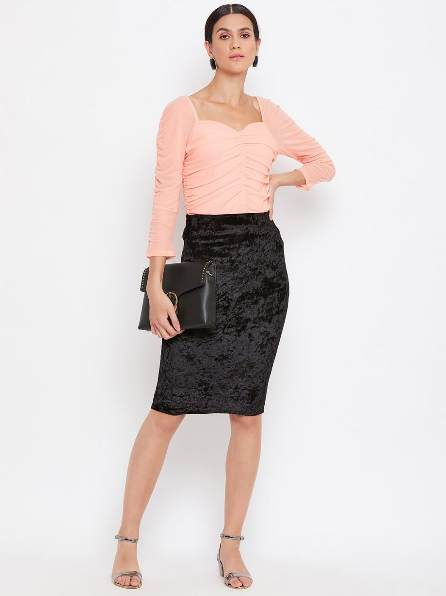 Buy Peach Color Milkmaid Ruched Effect Top At Best Price For Women