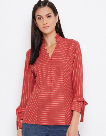 Striped Panelled Red Color Top
