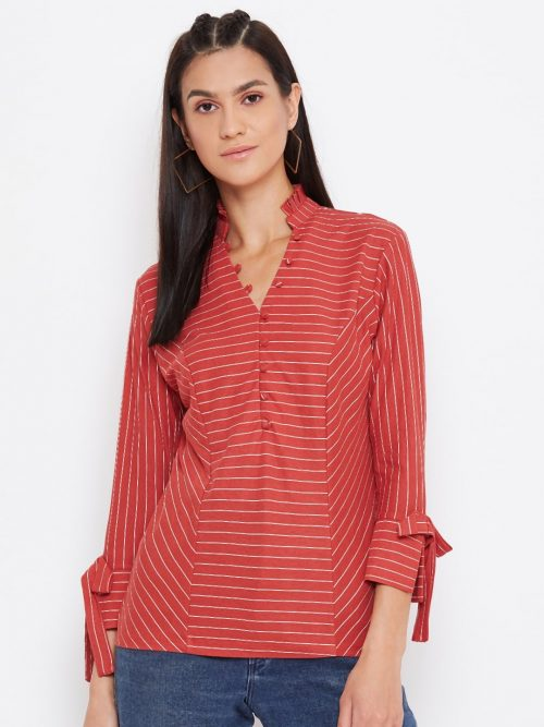 Buy Red Color Striped Panelled Top