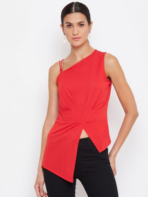 Buy Red Color Asymmetric Front High-Low Top Online
