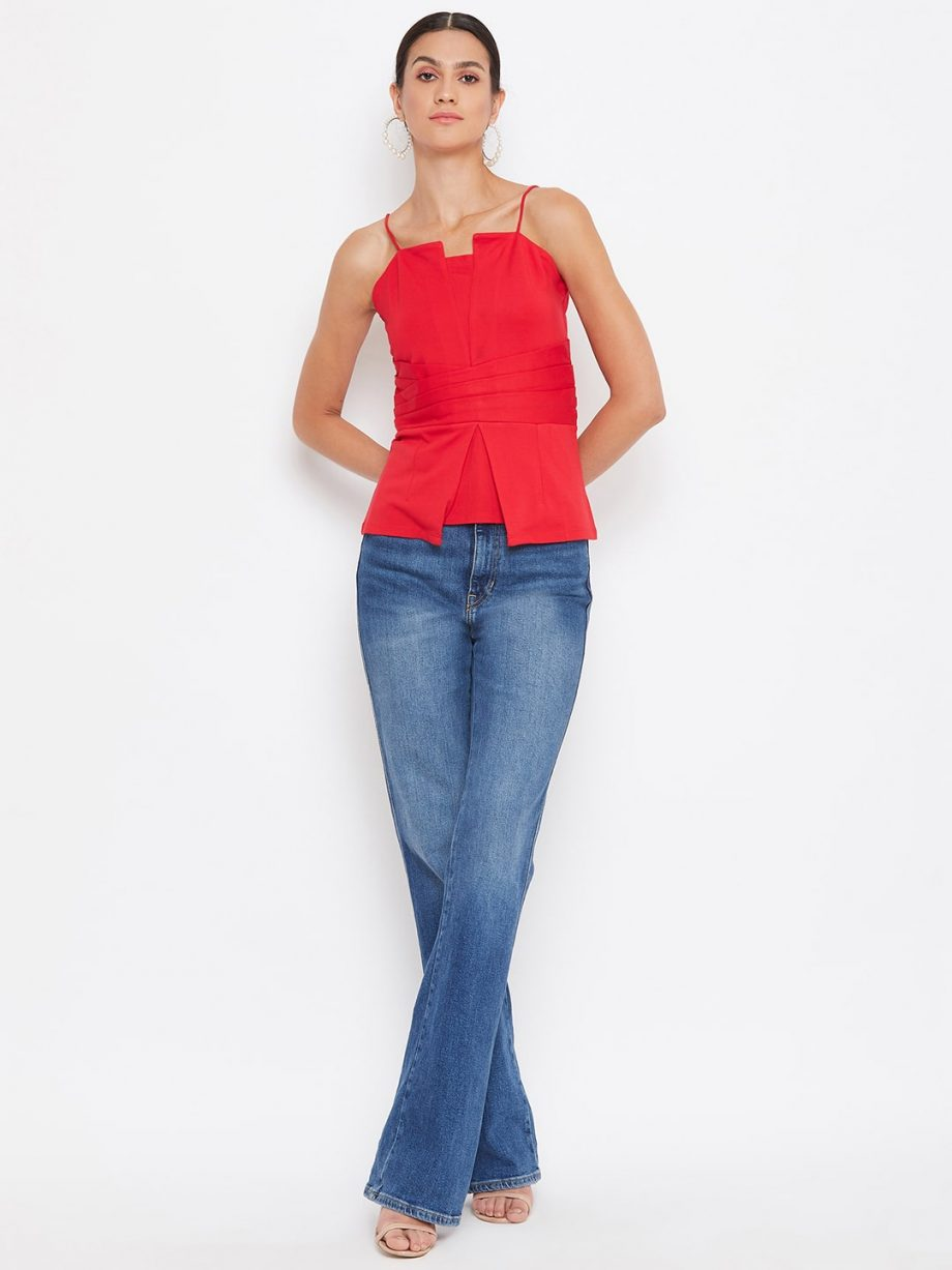 Buy Red Color Waist Pleated Cami For Women Online At Best Price