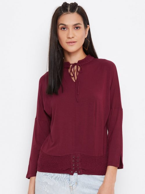 Buy Vortex Dolman Top With Smocking In Deep Red Color