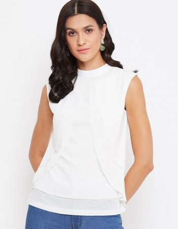Buy White Color Multilayered Top With Neck Band