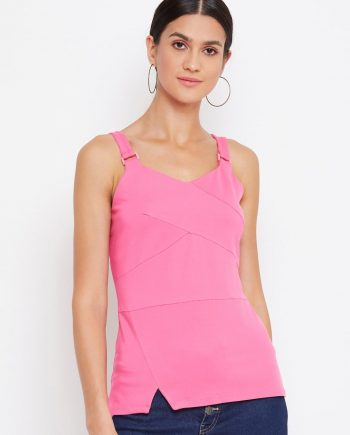 Buy pink color tonal buckle cami for women online in india