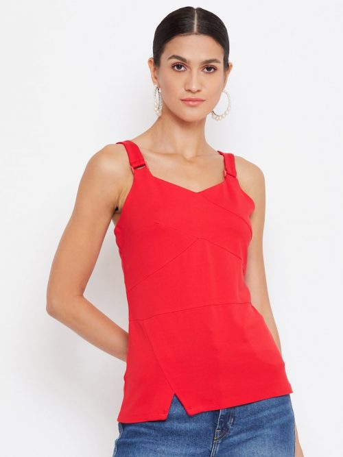 Buy red color tonal buckle cami for women online in india
