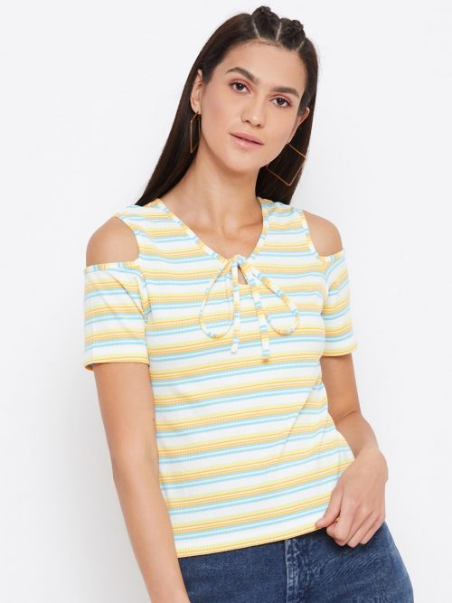 Cold Shoulder V Neck Ring Yellow Top