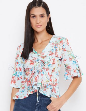 Floral Print Draw Cord Baby Blue Top