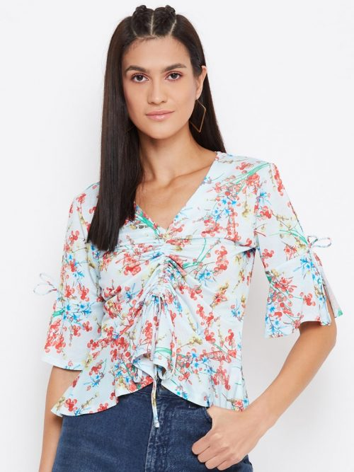 Floral Print Draw Cord Baby Blue Top-