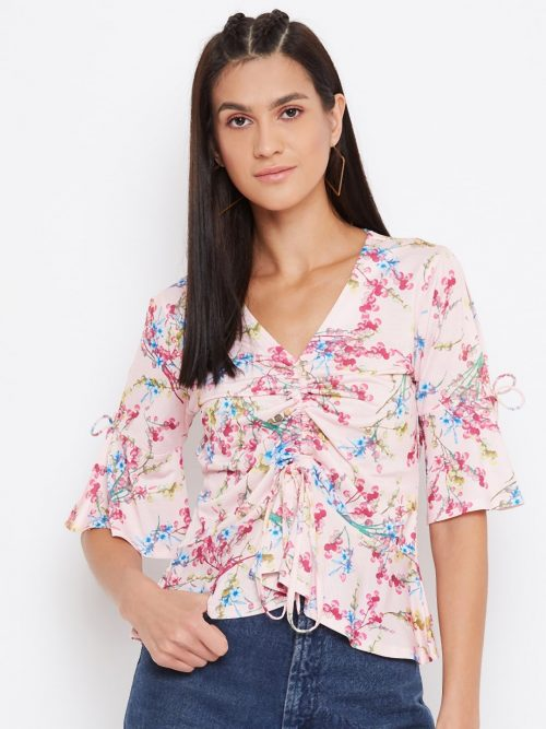 Floral Print Draw Cord Pink Top