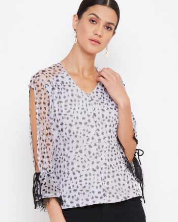 Grey Color Animal Print Scalloped Cold Sleeve Top for Women