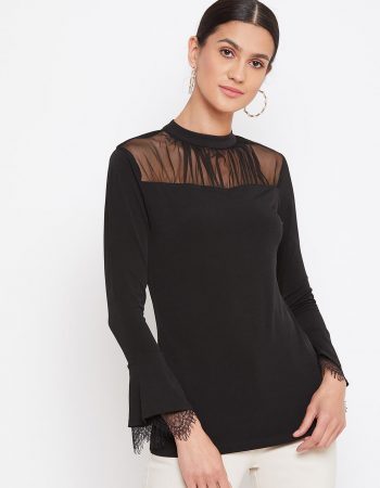 Mesh Yoke Black Top With Scallop Lace Sleeve