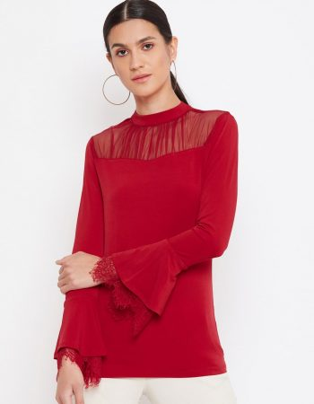 Mesh Yoke Red Top With Scallop Lace Sleeve