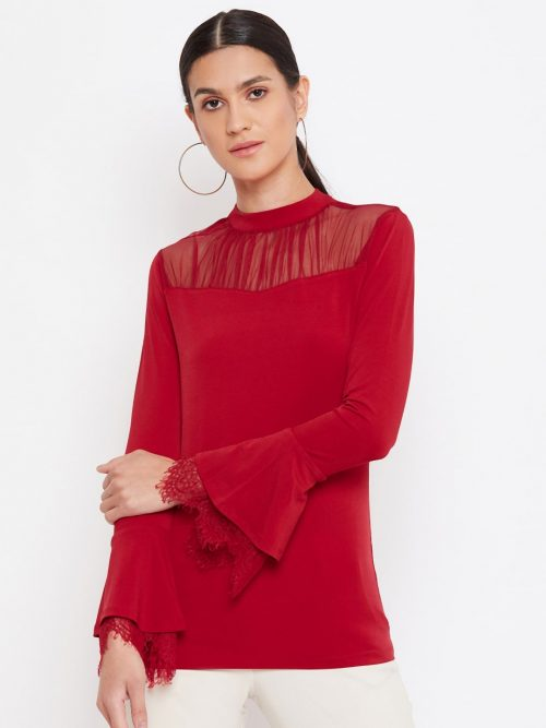 Mesh Yoke Red Top With Scallop Lace Sleeve-min