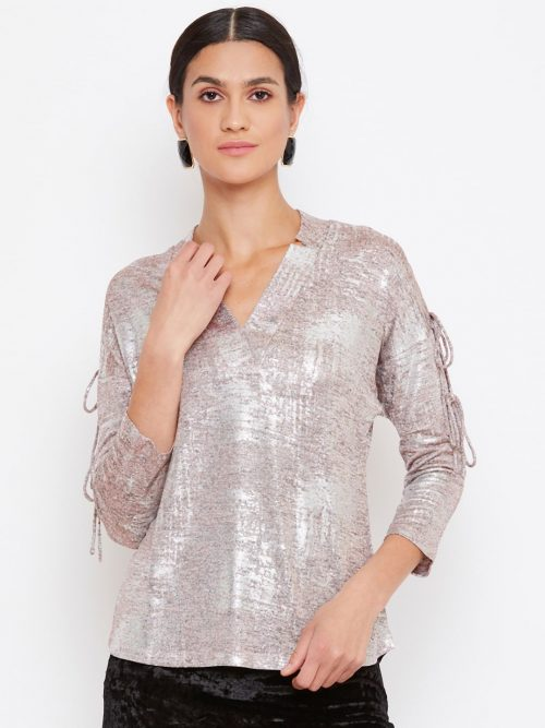 Metallic Pink Color Neck Overlap Dolman Women Top