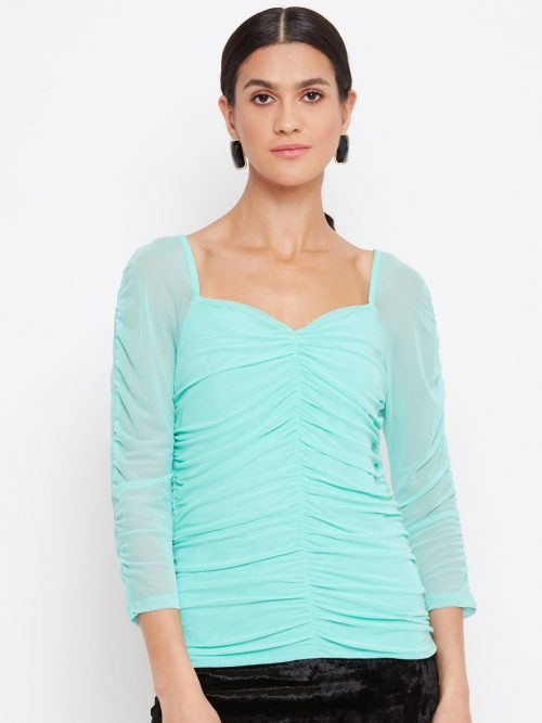 Mint Color Milkmaid Ruched Effect Top At Best Price For Women