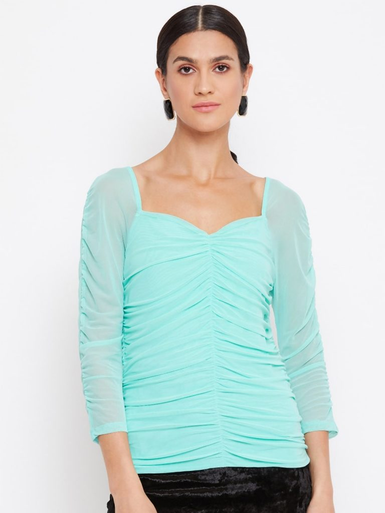 Milkmaid Ruched Effect Mint Color Top