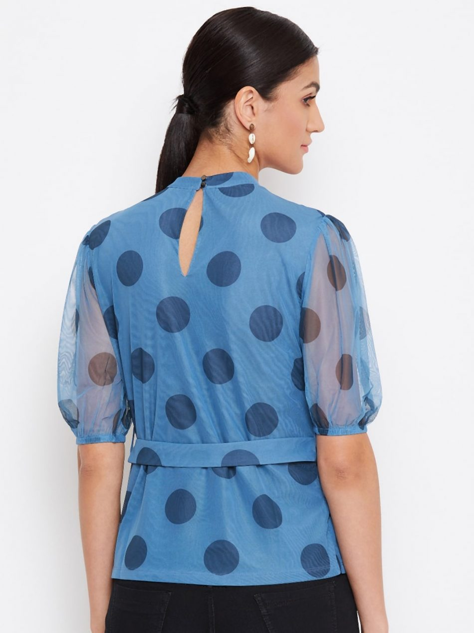 Online Blue Color Choker Neck Polka Top With Rings