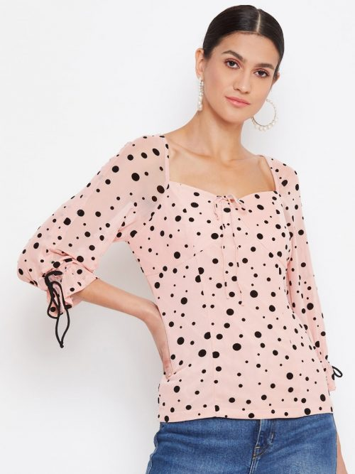 Peach Color Milkmaid Folk Polka Print Top