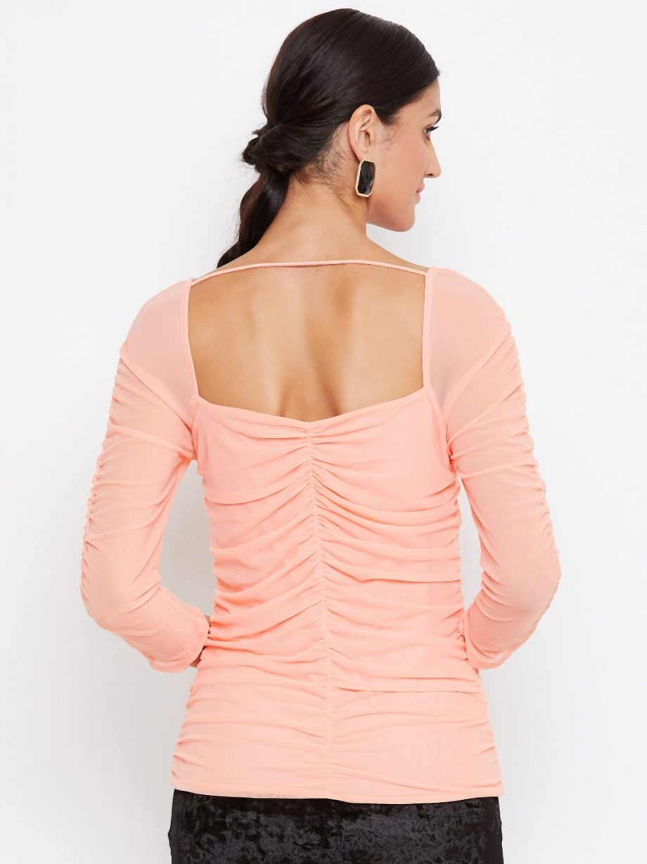 Peach Color Milkmaid Ruched Effect Top