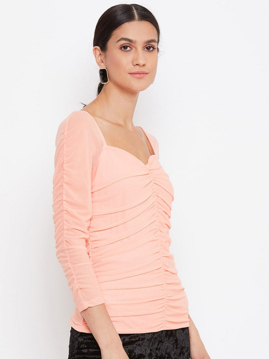 Peach Color Milkmaid Ruched Effect Top At Best Price