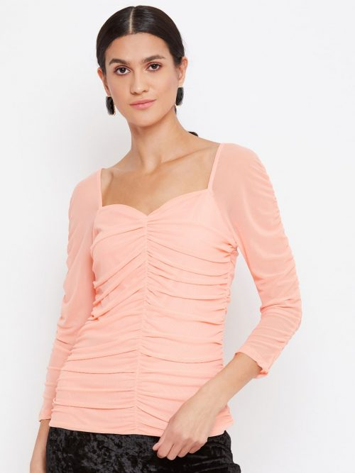 Peach Color Milkmaid Ruched Effect Top At Best Price For Women