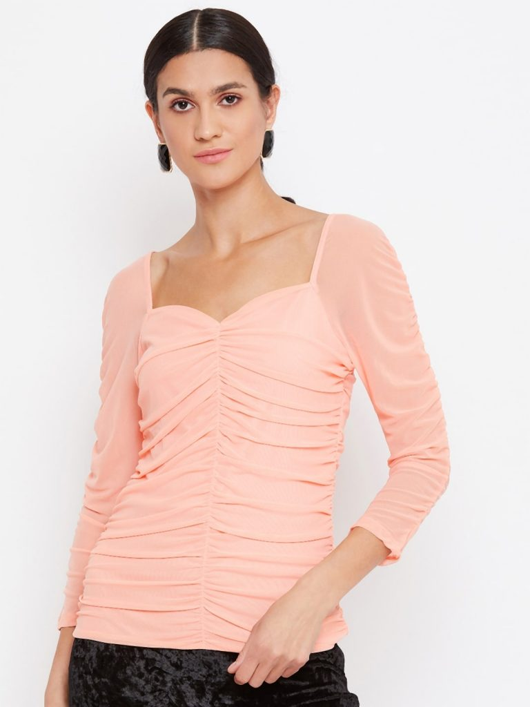 Milkmaid Ruched Effect Peach Color Top
