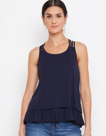 Pleat Detail Layered Navy Blue Cami