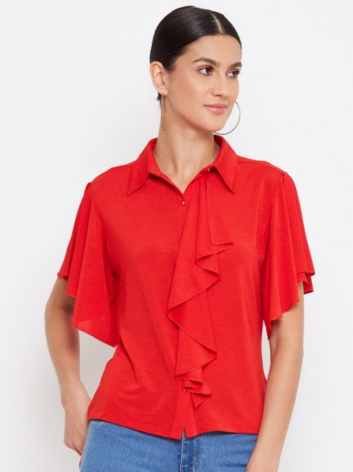 Red Color Crop Shirt With Draped Ruffles Top