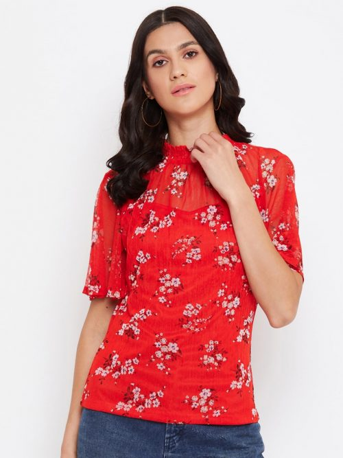 Red Color Floral Smoking Neck Top For Women