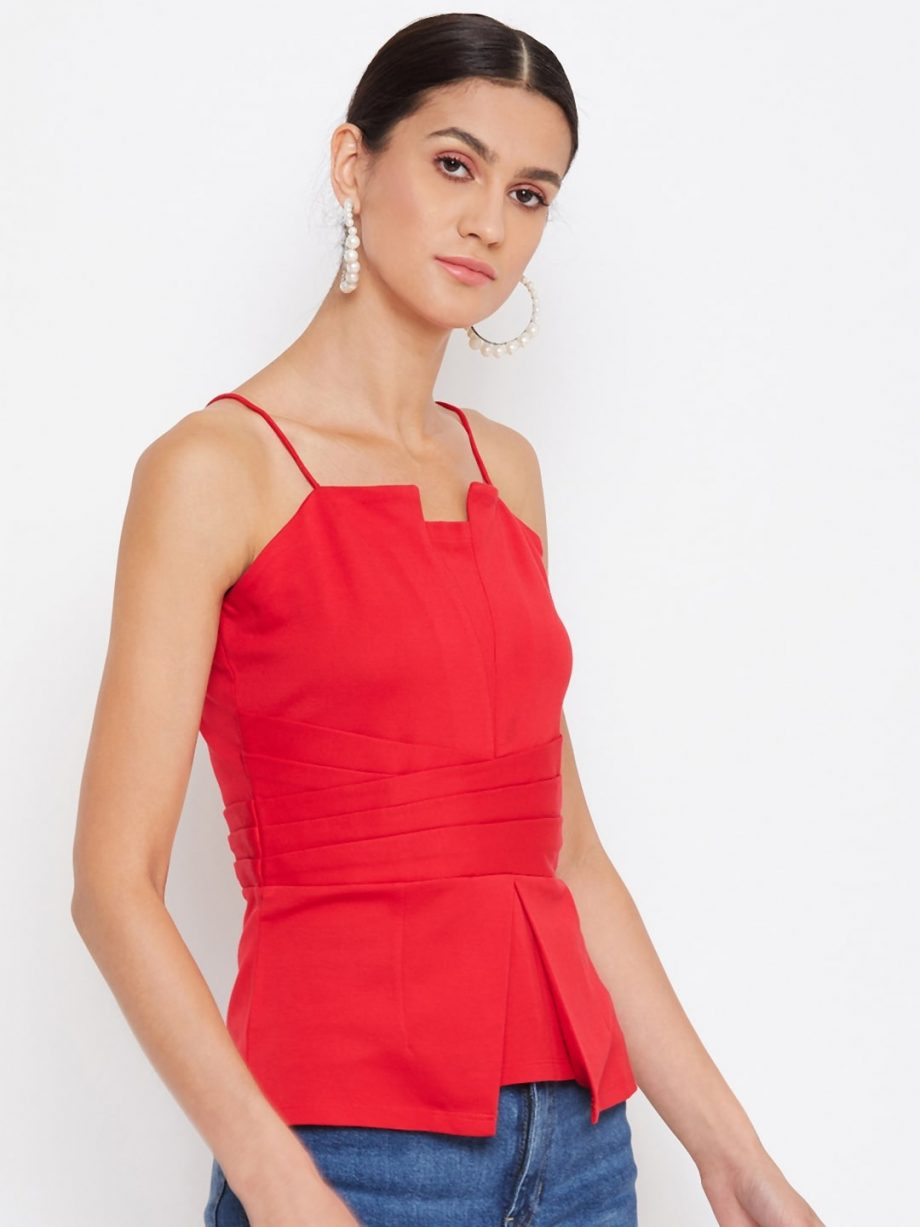 Red Color Waist Pleated Cami For Women Online