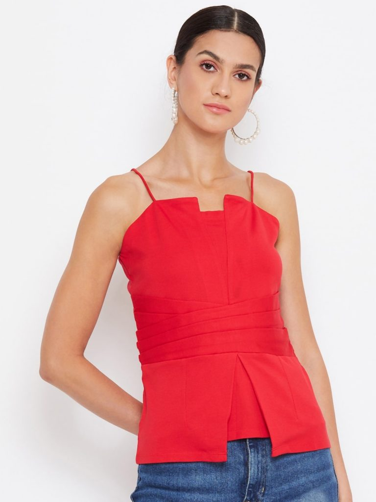Waist Pleated Red Color Cami