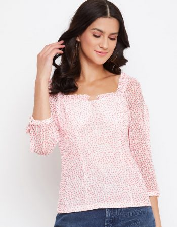 Red color polka top with neck frill