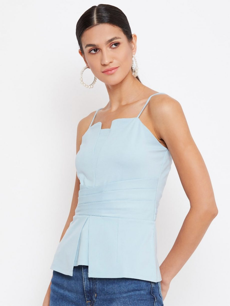Shop Aqua Color Waist Pleated Cami For Women Online At Best Price
