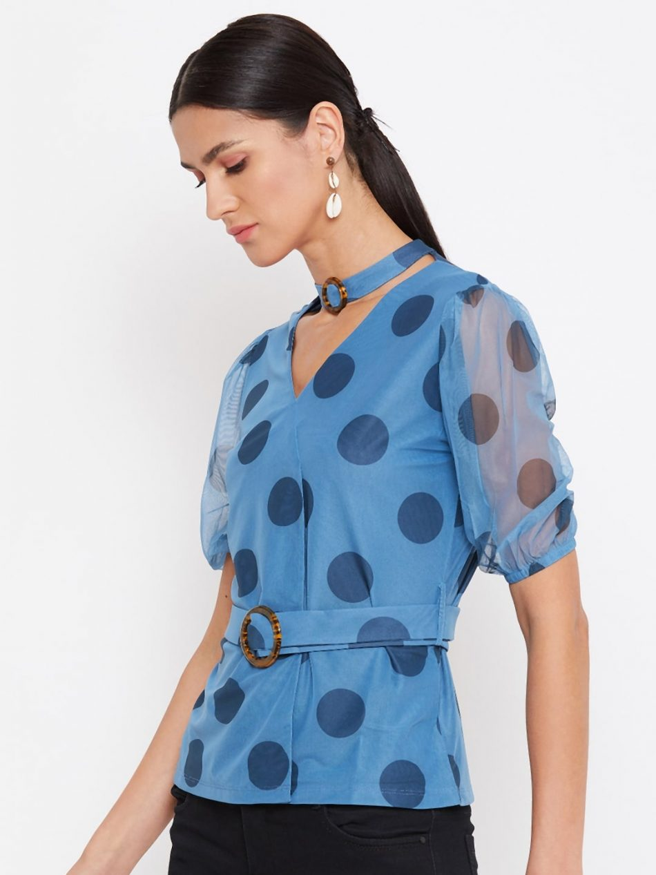 Shop Blue Color Choker Neck Polka Top With Rings