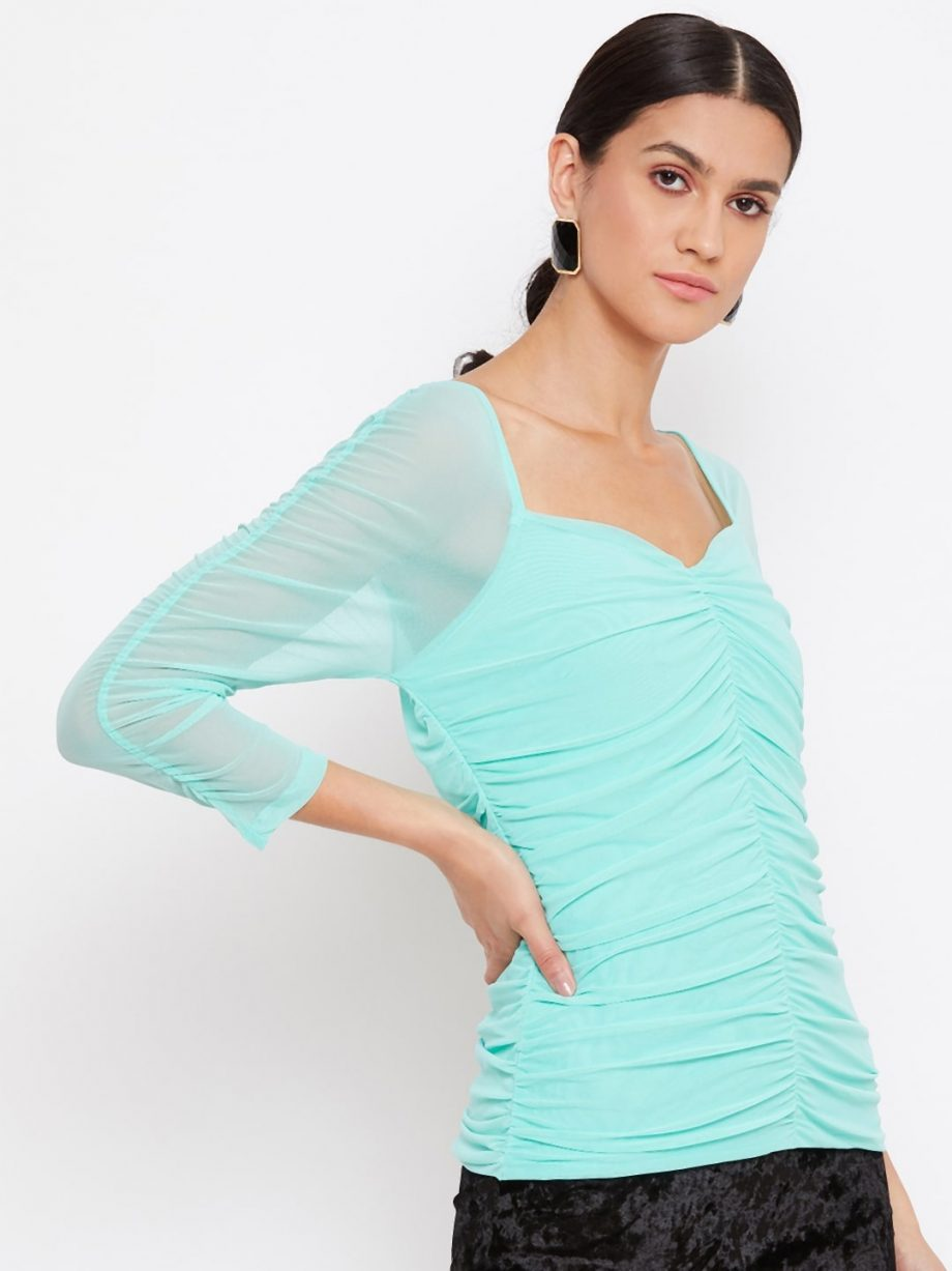 Shop Mint Color Milkmaid Ruched Effect Top At Best Price