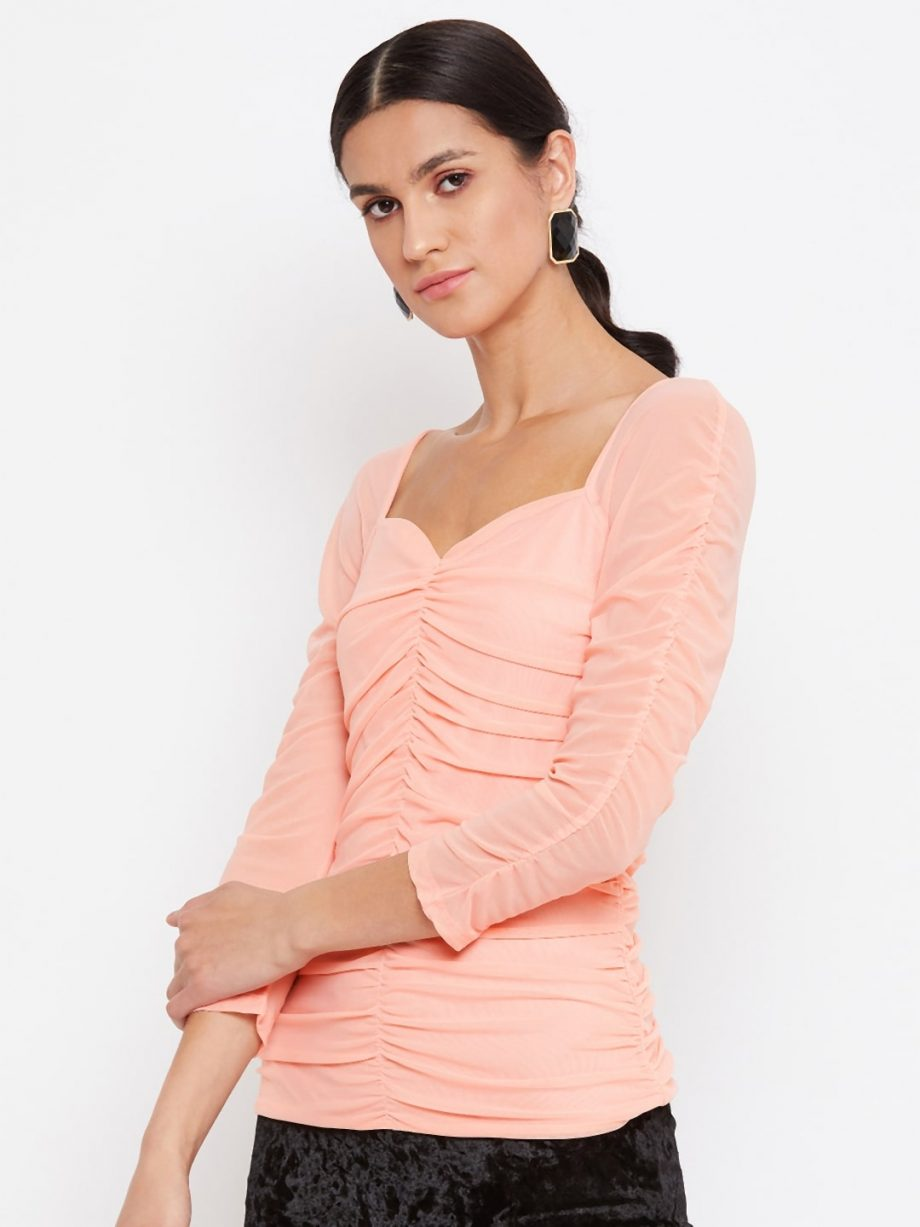 Shop Peach Color Milkmaid Ruched Effect Top At Best Price For Women