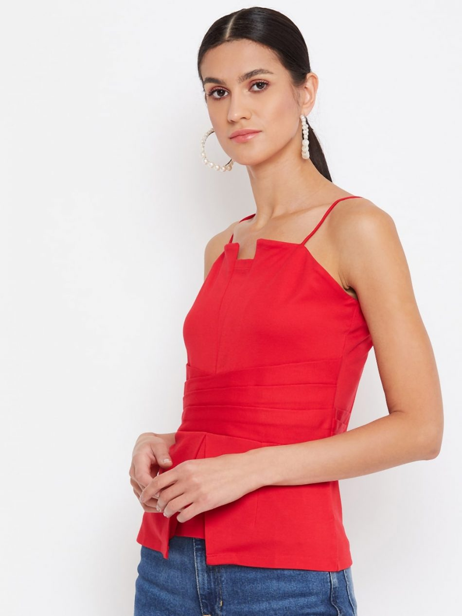 Shop Red Color Waist Pleated Cami For Women Online At Best Price