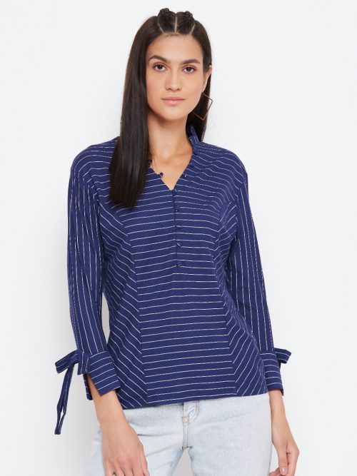 Striped Panelled Navy Blue Top